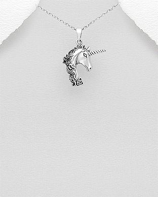 925 Sterling Silver Oxidized Unicorn-Pegasus Pendant & Chain - The Silver Vault UK