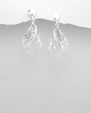 925 Sterling Silver Peacock Drops - The Silver Vault UK