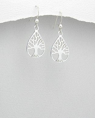 925 Sterling Silver Pear Shape Tree Of Life Drop Earrings - The Silver Vault UK