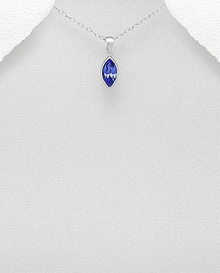 925 Sterling Silver Pendant & Chain Decorated with Authentic Tanzanite Swarovski Crystal Stone - The Silver Vault UK