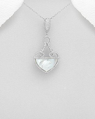 925 Sterling Silver Pendant Decorated With CZ and Mother of Pearl Shell - The Silver Vault UK