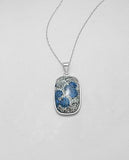 925 Sterling Silver Stone Set Pendant Decorated with Jasper. - The Silver Vault UK