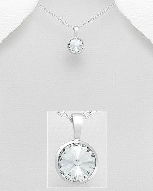 925 Sterling Silver Pendant & Chain Decorated with Verifiable Authentic Clear Swarovski Crystal Stone - The Silver Vault UK