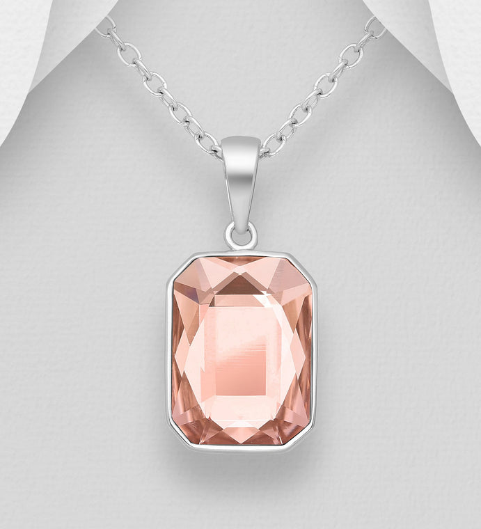 925 Sterling Silver Pendant & Chain Decorated with Verifiable Authentic Rose Swarovski Crystal Stone - The Silver Vault UK