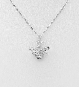 925 Sterling Silver Pendant Featuring Bee Decorated with CZ Simulated Diamonds - The Silver Vault UK