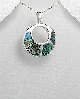 925 Sterling Silver Pendant & Chain Set With Abalone Stone Shell - The Silver Vault UK