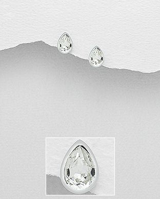 925 Sterling Silver Stud Earrings Decorated with  Authentic Swarovski Crystals - The Silver Vault UK
