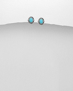 925 Sterling Silver Stone Set Earrings, Decorated with Reconstructed Turquoise - The Silver Vault UK