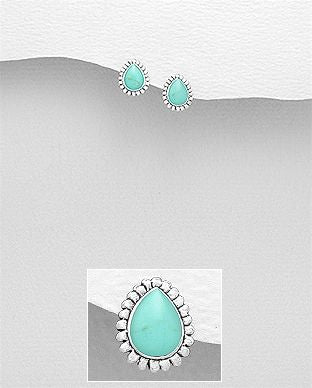 925 Sterling Silver Stone Set Earrings, Decorated with Reconstructed Turquoise Gem Stones - The Silver Vault UK