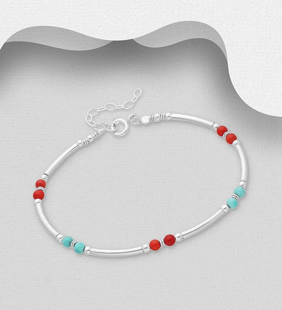 925 Sterling Silver Red & Blue Ball Adjustable Bracelet - The Silver Vault UK