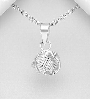 925 Sterling Silver Ridged Knot Pendant & Chain - The Silver Vault UK