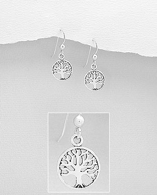 925 Sterling Silver Round Tree of Life Drop Earrings - The Silver Vault UK