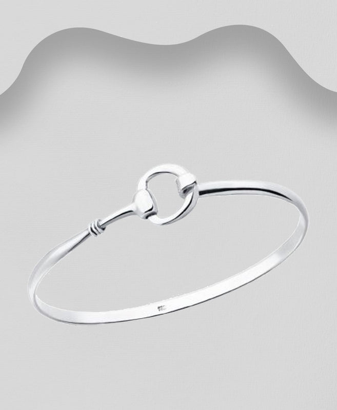 925 Sterling Silver Single Horse Bit Bangle That Opens - The Silver Vault UK