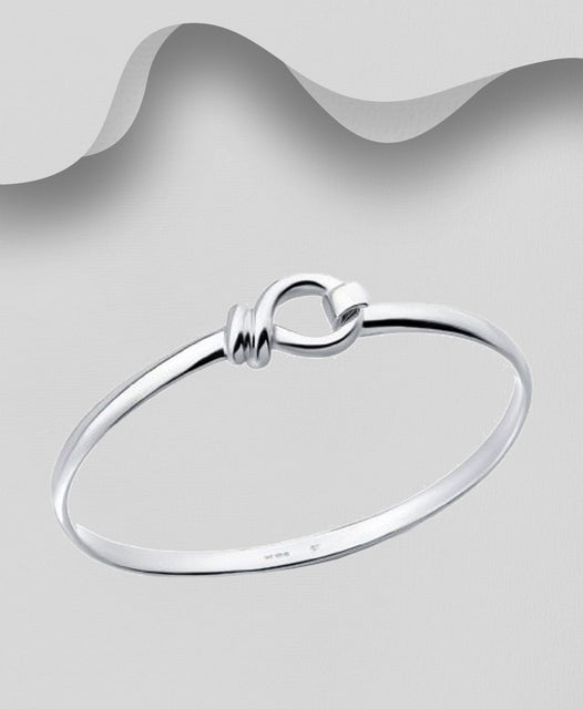925 Sterling Silver Single twist Bangle That Opens - The Silver Vault UK