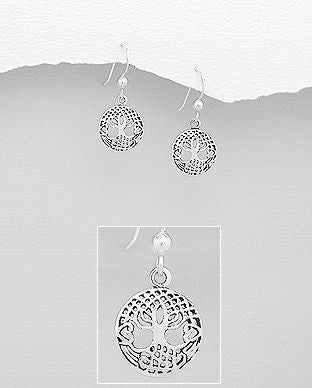 925 Sterling Silver Small Round Tree Of Life Earrings - The Silver Vault UK