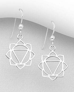 925 Sterling Silver Solar Plexus Chakra Hook Earrings - The Silver Vault UK