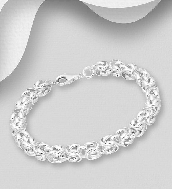 925 Sterling Silver Solid Fancy Link Bracelet - The Silver Vault UK
