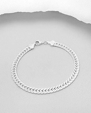 925 Sterling Silver Solid Flat Curb Bracelet - The Silver Vault UK