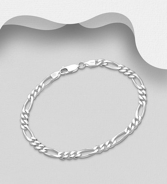 925 Sterling Silver Solid Heavier Weight Figaro Bracelet - The Silver Vault UK