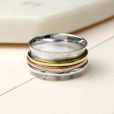 925 Sterling Silver Sterling Silver Brushed Spinning Ring With Triple Bands - The Silver Vault UK