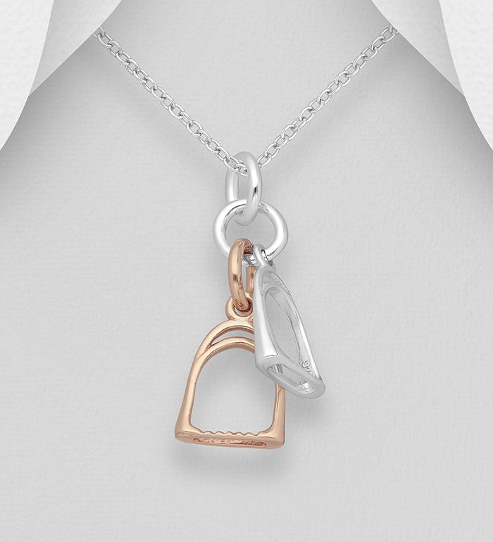 925 Sterling Silver Stirrup Pendant, Plated with 1 Micron of Pink Gold - The Silver Vault UK