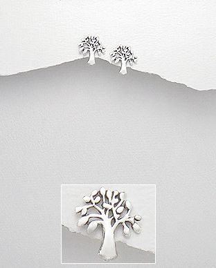 925 Sterling Silver Tree of Life Earrings - The Silver Vault UK