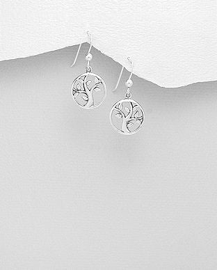 925 Sterling Silver Tree of Life Drop Earrings - The Silver Vault UK