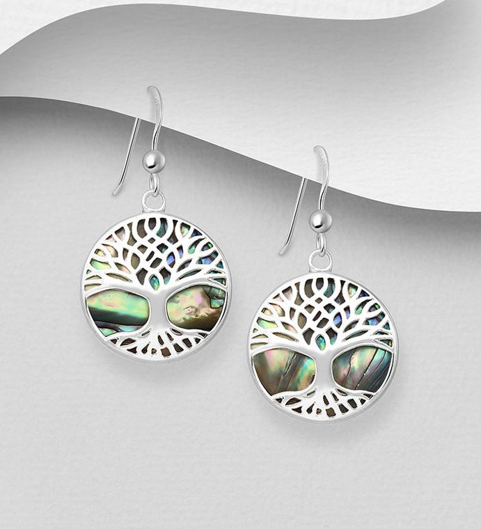 925 Sterling Silver Round Tree Of Life  Earrings Stone Set With Abalone Shell - The Silver Vault UK