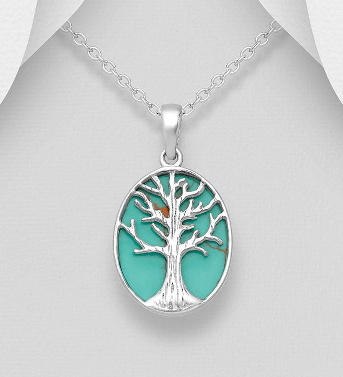 925 Sterling Silver Tree of Life Pendant & Chain Decorated with Reconstructed Turquoise Stone - The Silver Vault UK