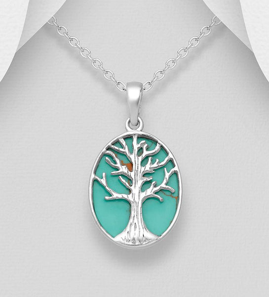 925 Sterling Silver Tree of Life Pendant & Chain Decorated with Reconstructed Turquoise - The Silver Vault UK