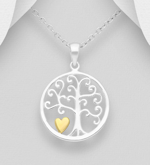 925 Sterling Silver Tree of Life Pendant, Heart Plated with 1 Micron 18K Yellow Gold - The Silver Vault UK