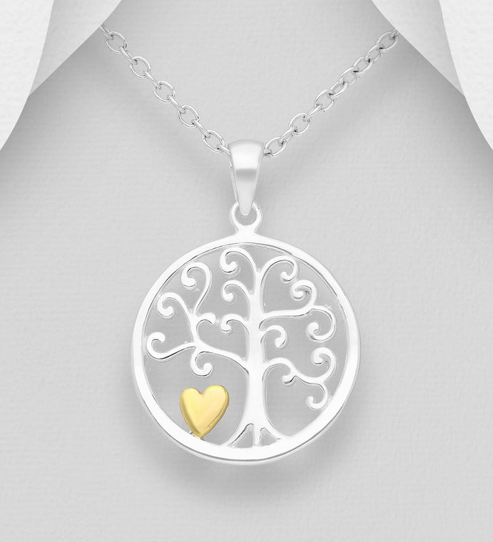 925 Sterling Silver Tree of Life Pendant, Heart Plated with 1 Micron 18K Yellow Gold - Valentines Gift Idea - The Silver Vault UK