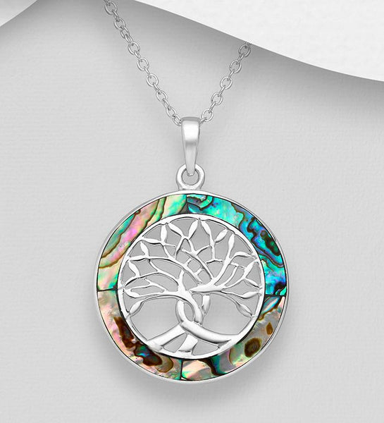 925 Sterling Silver Tree of Life Pendant & Chain Decorated With Abalone Shell - The Silver Vault UK