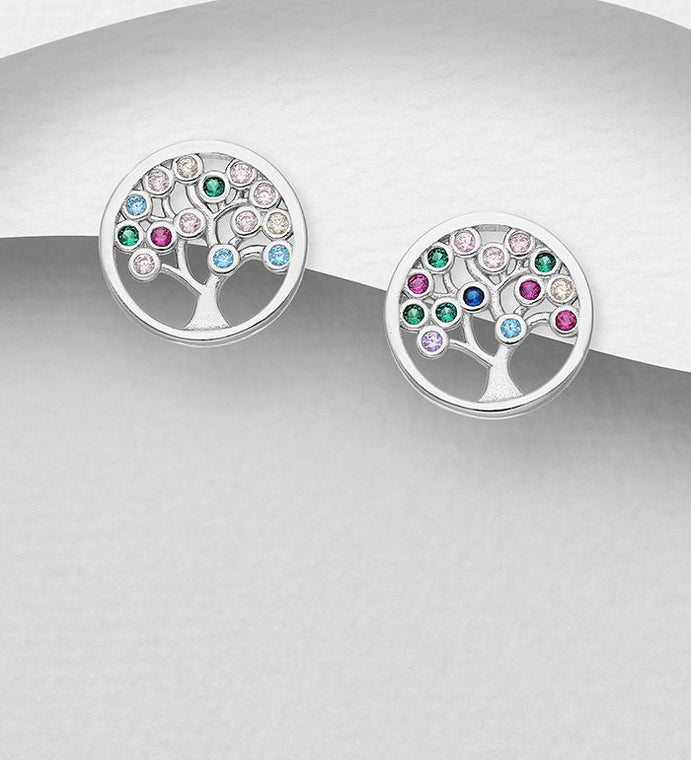925 Sterling Silver Tree of Life Stud Earrings, Decorated with Colorful CZ Simulated Diamonds - The Silver Vault UK
