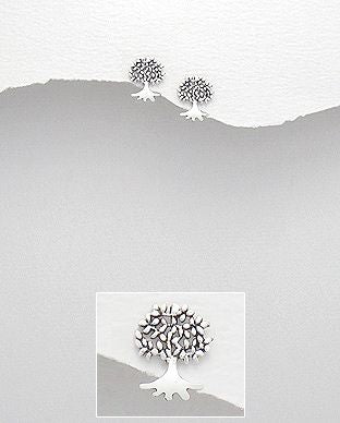 925 Sterling Silver Tree of Life Stud Earrings - The Silver Vault UK