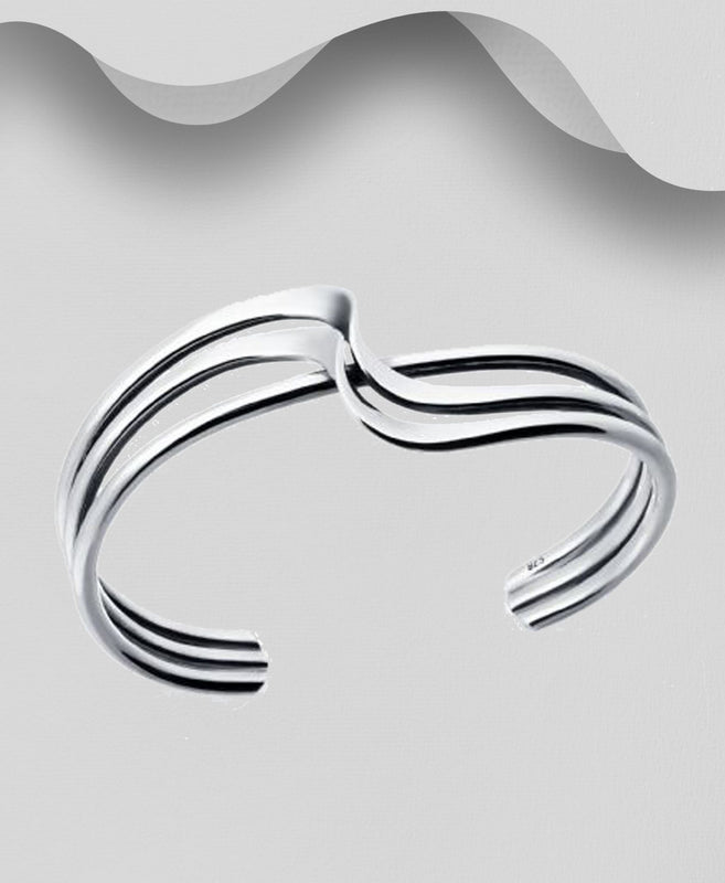 925 Sterling Silver Twisted Cuff Bangle - The Silver Vault UK