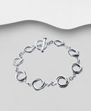 925 Sterling Silver Twisted Round Link Bracelet With T Bar Fastener - The Silver Vault UK