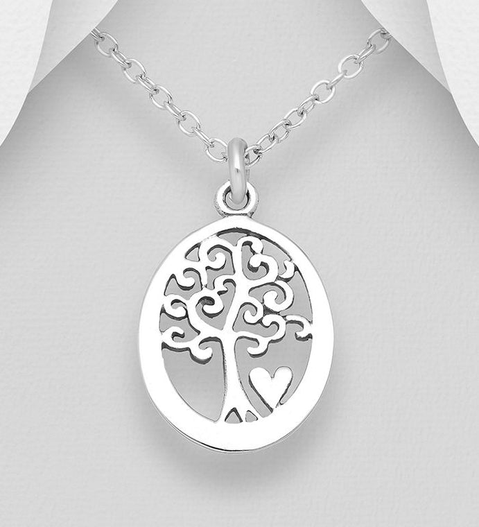 925 Sterling Silver Oval Tree Of Life Pendant With Small Heart - Valentines Gift Idea - The Silver Vault UK