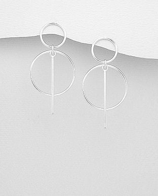 925 Sterling Silver Bar and Circle Links Drop Earrings - The Silver Vault UK