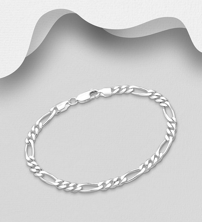 925 Sterling Solid Silver Medium Weight Figaro Bracelet - The Silver Vault UK
