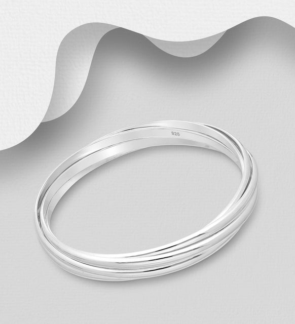 925e Sterling Silver Solid Russian Bangle - The Silver Vault UK