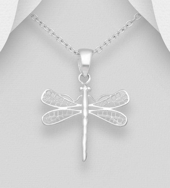 925 Sterling Silver Dragonfly Pendant & Chain - The Silver Vault UK