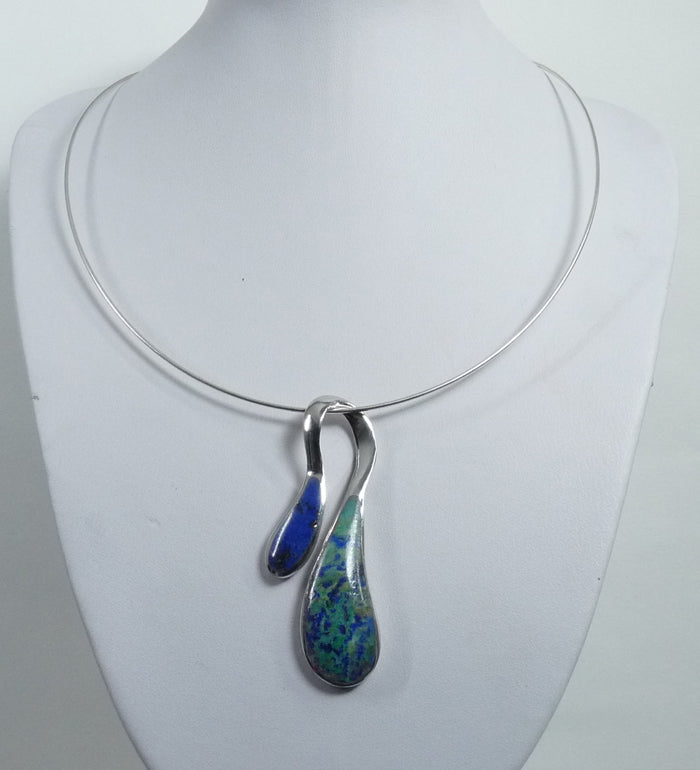 925 Sterling Silver Stone Set Lapis Pendant & Chain - The Silver Vault UK