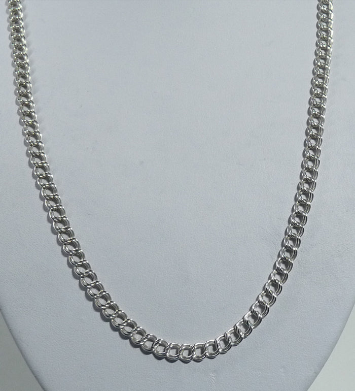 925 Sterling Silver Solid Hand Crafted Longer Necklace - A double Link Entwined. - The Silver Vault UK