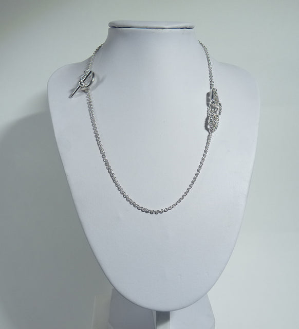 925 Sterling Silver Solid Hand Crafted Hermes Style Necklace. - The Silver Vault UK