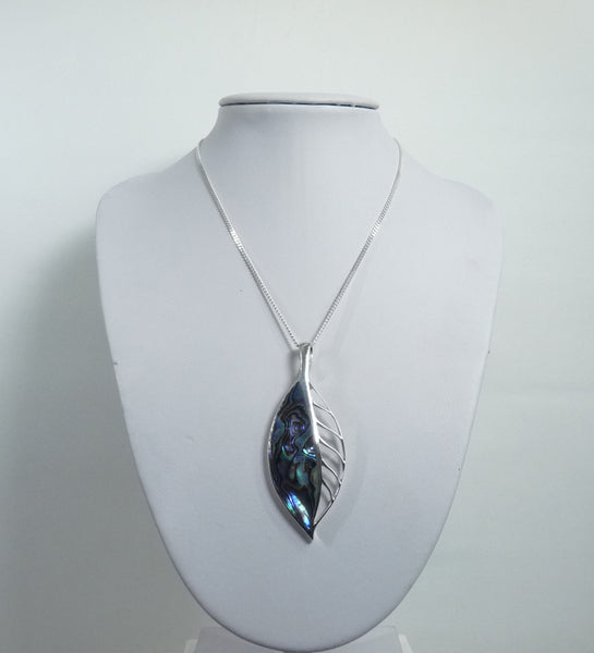 925 Sterling Silver Leaf Stone Set Abalone Shell Pendant & Chain - The Silver Vault UK