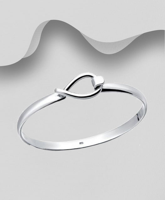 925 Sterling Silver Modern Bangle - Heavier Design - The Silver Vault UK