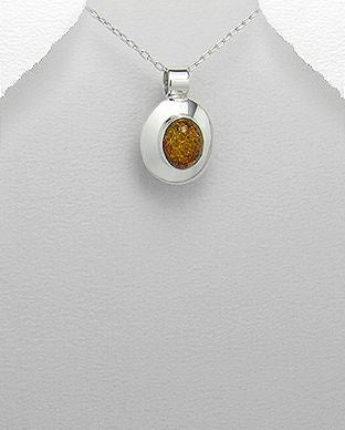 925 Sterling Silver Amber Stone Set Pendant & Chain With a Plain Polished Silver Surround - The Silver Vault UK