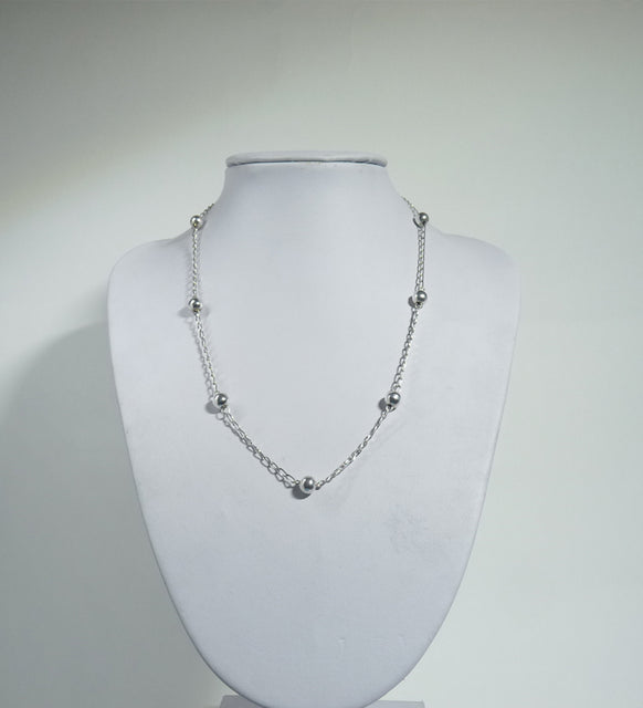 925 Sterling Silver Ball Necklace - The Silver Vault UK