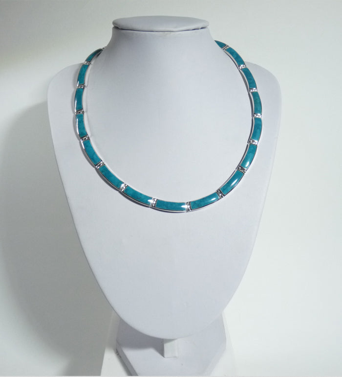 925 Solid Sterling Silver Hand Crafted Necklace, Set With Green  Turquoise Shell - The Silver Vault UK